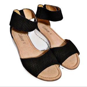 Gabor Black Suede Sandals. NWOT